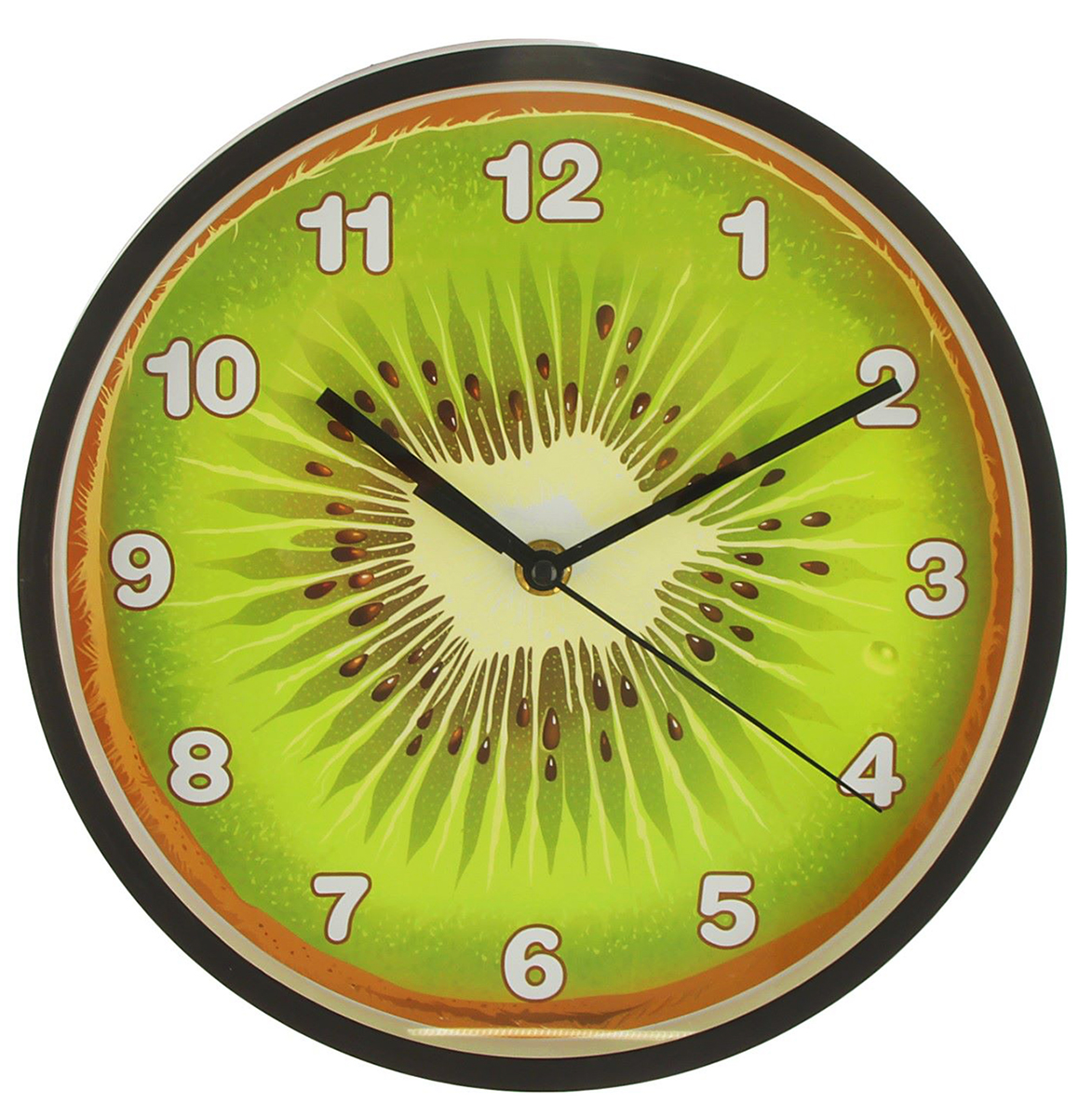 Часы настенные кухонные Киви, диаметр 25 см2590547Каждому хозяину периодически приходит мысль обновить свою квартиру, сделать ремонт, перестановку или кардинально поменять внешний вид каждой комнаты. — привлекательная деталь, которая поможет воплотить вашу интерьерную идею, создать неповторимую атмосферу в вашем доме. Окружите себя приятными мелочами, пусть они радуют глаз и дарят гармонию.Часы настенные кухонные круг Киви толстые черные края, арабские цифры, 25*25см 2590547