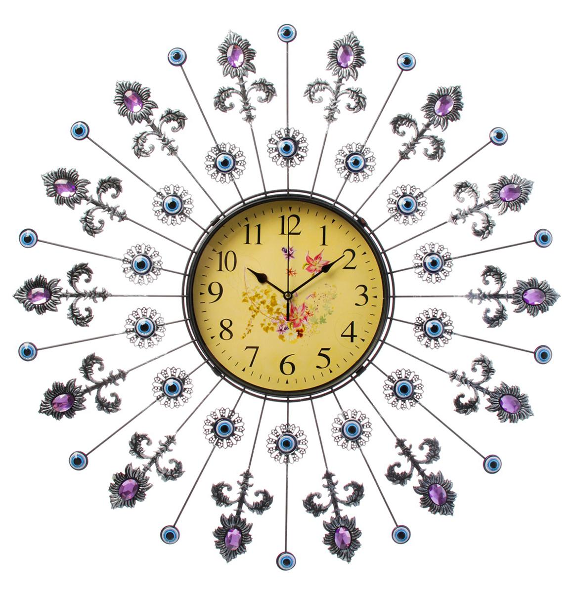 Часы настенные интерьерные, цвет: голубой, розовый, черный, 59 х 59 см