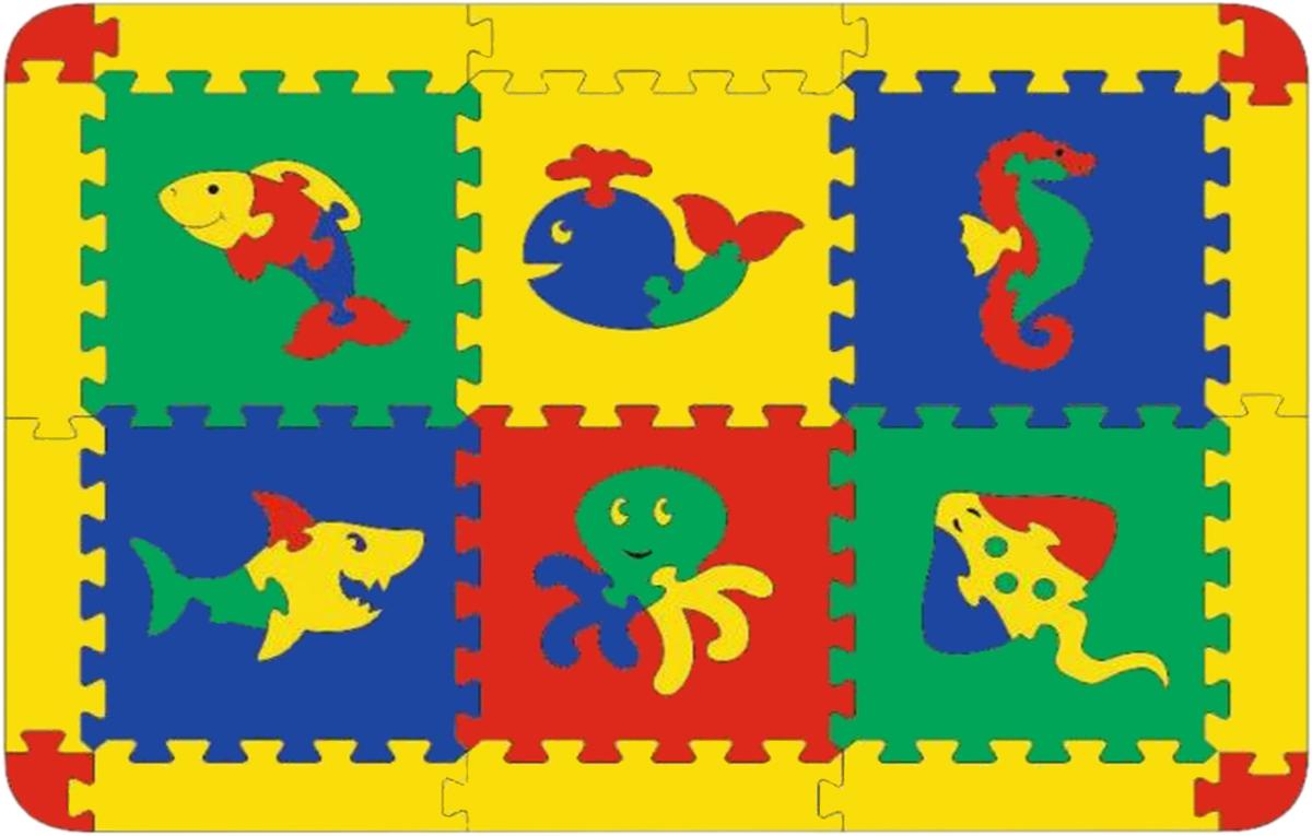 Флексика Коврик-пазл Морской 6 деталей флексика пазл для малышей попугай цвет основы красный