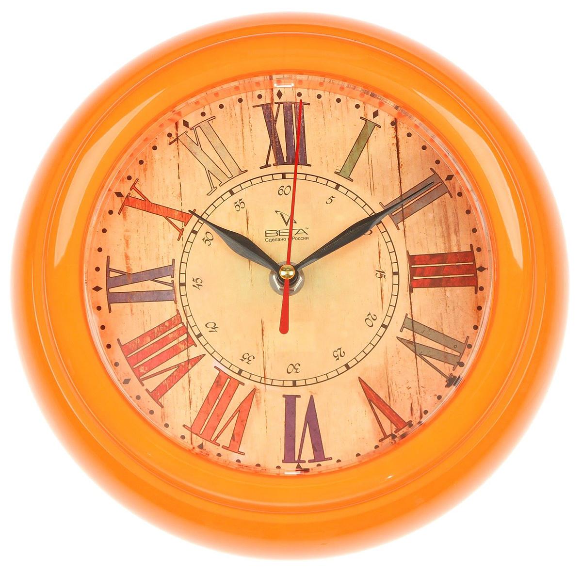 Часы настенные Вега Ретро, диаметр 22 см2633446— сувенир в полном смысле этого слова. И главная его задача — хранить воспоминание о месте, где вы побывали, или о том человеке, который подарил данный предмет. Преподнесите эту вещь своему другу, и она станет достойным украшением его дома. Каждому хозяину периодически приходит мысль обновить свою квартиру, сделать ремонт, перестановку или кардинально поменять внешний вид каждой комнаты. — привлекательная деталь, которая поможет воплотить вашу интерьерную идею, создать неповторимую атмосферу в вашем доме. Окружите себя приятными мелочами, пусть они радуют глаз и дарят гармонию.Часы настенные круглые Ретро, оранжевый обод, 22х22 см 2633446