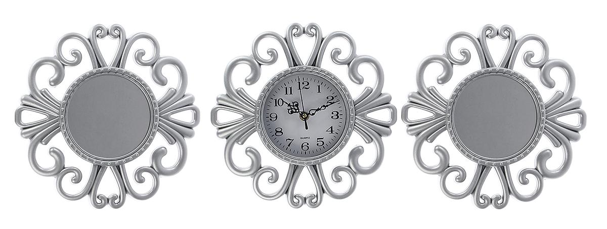 Часы настенные с зеркалом, цвет: серебро, 80 х 27 см2757010Каждому хозяину периодически приходит мысль обновить свою квартиру, сделать ремонт, перестановку или кардинально поменять внешний вид каждой комнаты. — привлекательная деталь, которая поможет воплотить вашу интерьерную идею, создать неповторимую атмосферу в вашем доме. Окружите себя приятными мелочами, пусть они радуют глаз и дарят гармонию.Часы 3в1 с зеркалом, серебро, с завитушками, пластик, циферблат 11,5см, 80*27см 2757010