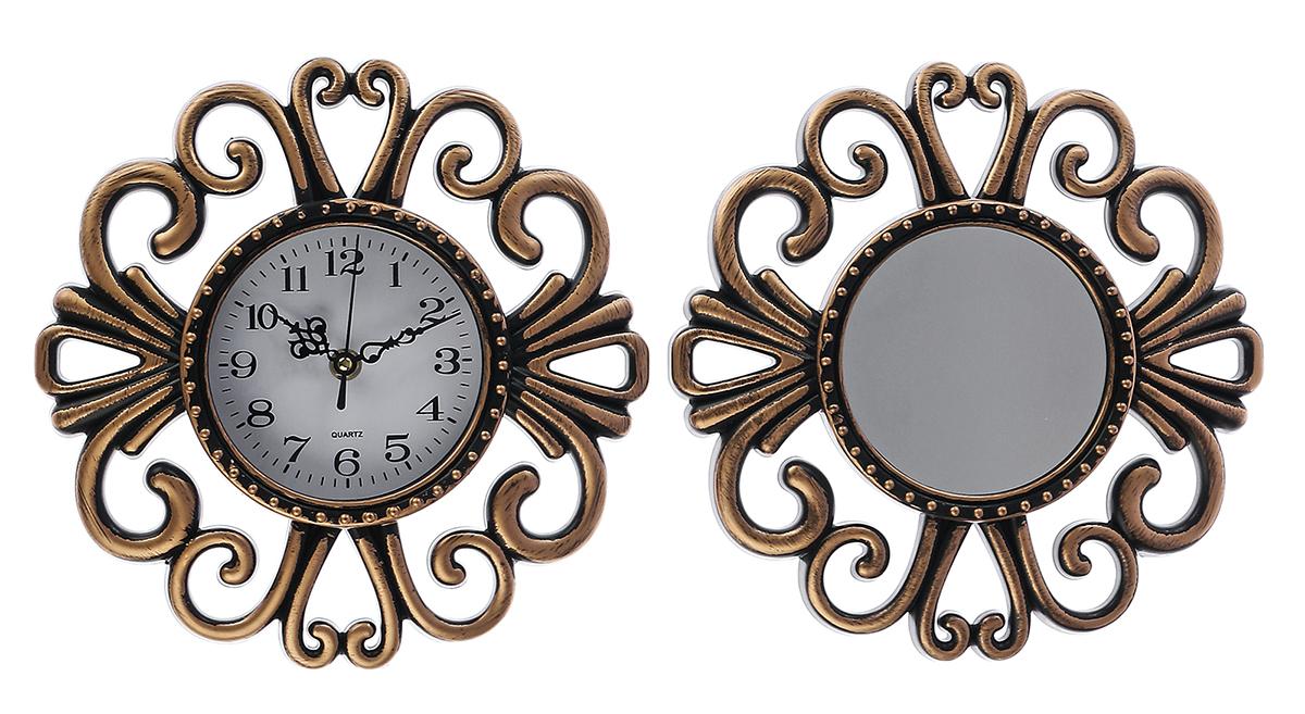 Часы настенные с зеркалом, 28 х 27 см2757013Каждому хозяину периодически приходит мысль обновить свою квартиру, сделать ремонт, перестановку или кардинально поменять внешний вид каждой комнаты. Привлекательная деталь, которая поможет воплотить вашу интерьерную идею, создать неповторимую атмосферу в вашем доме. Окружите себя приятными мелочами, пусть они радуют глаз и дарят гармонию.Диаметр циферблата: 11,5 см.
