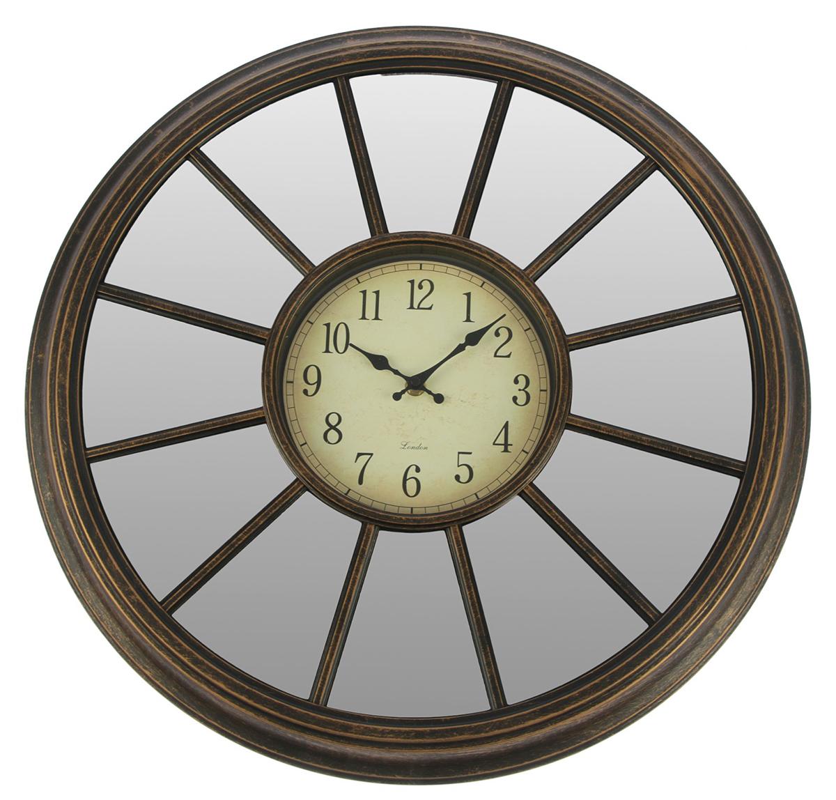 Часы настенные Зеркала, цвет: бронза, диаметр 50 см2770468Каждому хозяину периодически приходит мысль обновить свою квартиру, сделать ремонт, перестановку или кардинально поменять внешний вид каждой комнаты. — привлекательная деталь, которая поможет воплотить вашу интерьерную идею, создать неповторимую атмосферу в вашем доме. Окружите себя приятными мелочами, пусть они радуют глаз и дарят гармонию.Часы настенные. серия Зеркала, круг, 12 частей, циферблат под старину, цвет бронза, d=50см 2770468