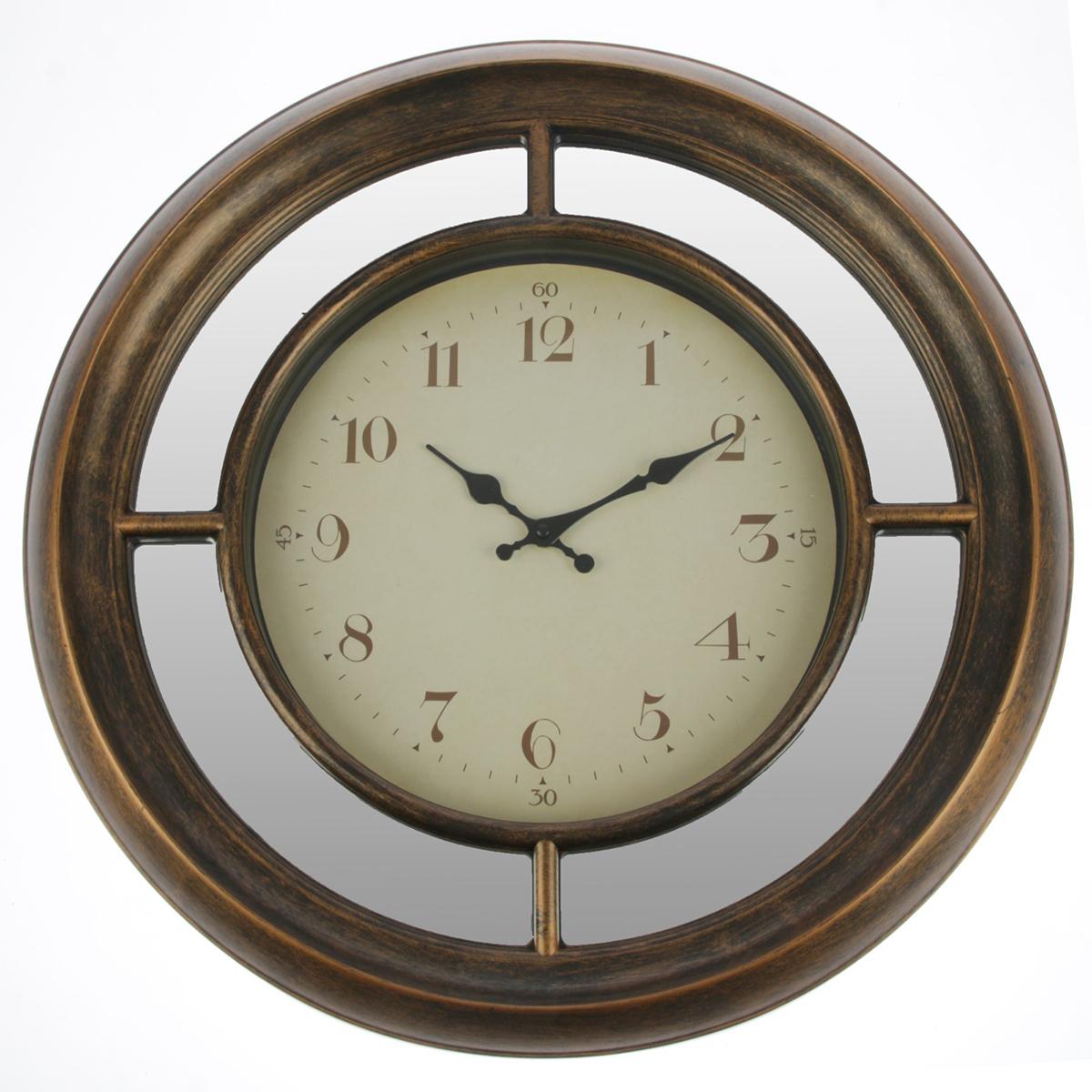 Часы настенные Зеркала, цвет: коричневый, диаметр 56 см. 27704722770472Каждому хозяину периодически приходит мысль обновить свою квартиру, сделать ремонт, перестановку или кардинально поменять внешний вид каждой комнаты. — привлекательная деталь, которая поможет воплотить вашу интерьерную идею, создать неповторимую атмосферу в вашем доме. Окружите себя приятными мелочами, пусть они радуют глаз и дарят гармонию.Часы настенные. серия Зеркала, круг, зеркало по ободу, цифер-т выцветший, цвет корич, d=56см 27704
