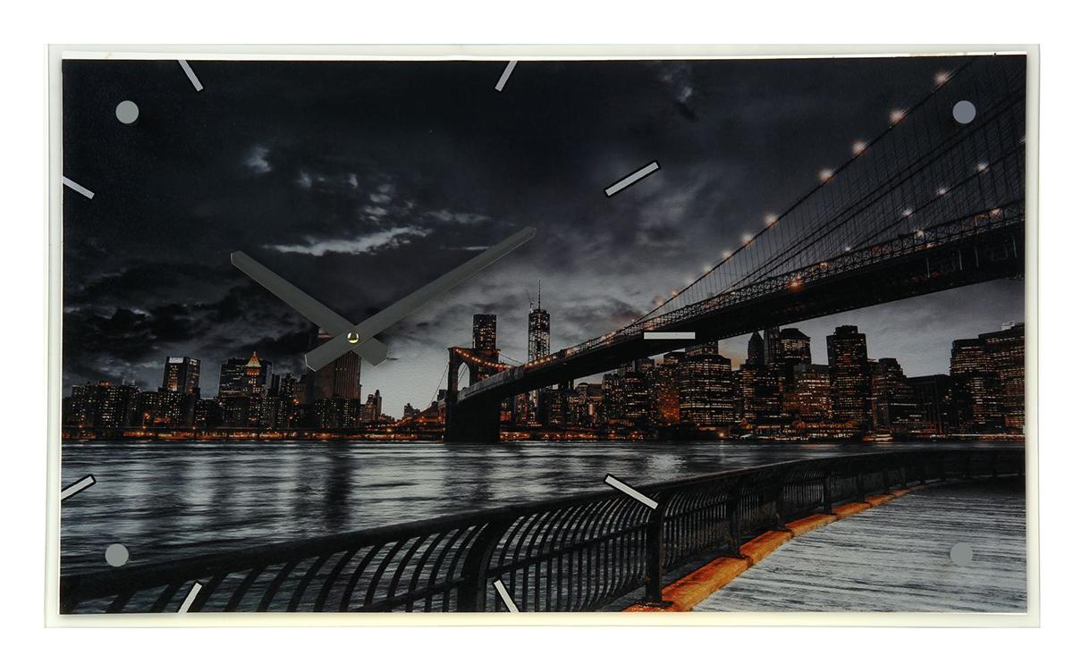 Часы настенные прямоугольные Сюжет Бруклинский мост, 35 х 60 см постер в раме бруклинский мост 60х60 см