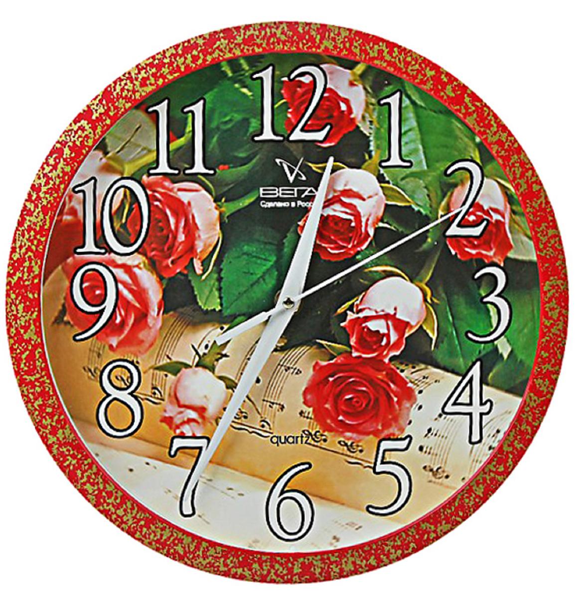 Часы настенные Вега Розы464358Каждому хозяину периодически приходит мысль обновить свою квартиру, сделать ремонт, перестановку или кардинально поменять внешний вид каждой комнаты. Часы настенные круглые Розы — привлекательная деталь, которая поможет воплотить вашу интерьерную идею, создать неповторимую атмосферу в вашем доме. Окружите себя приятными мелочами, пусть они радуют глаз и дарят гармонию. Часы настенные круглые Розы — сувенир в полном смысле этого слова. И главная его задача — хранить воспоминание о месте, где вы побывали, или о том человеке, который подарил данный предмет. Преподнесите эту вещь своему другу, и она станет достойным украшением его дома.Часы настенные круглые Розы 464358