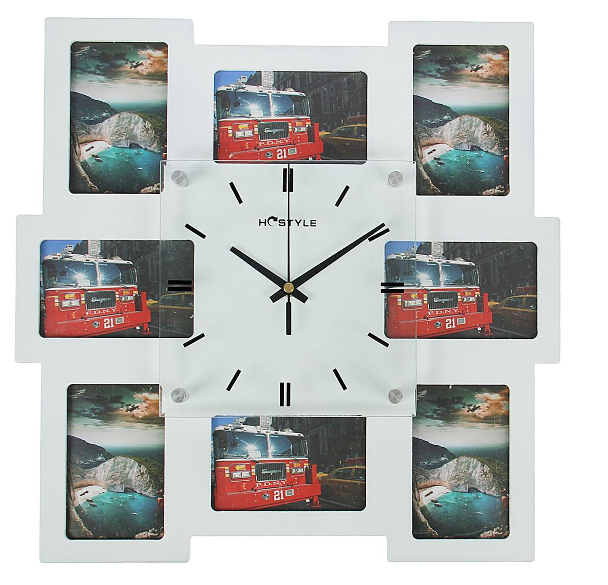 Часы настенные Хайтек. Квадраты, 8 фоторамок 7х11, цвет: белый, 40 х 40 см multicolor stripe short sleeve loose t shirt