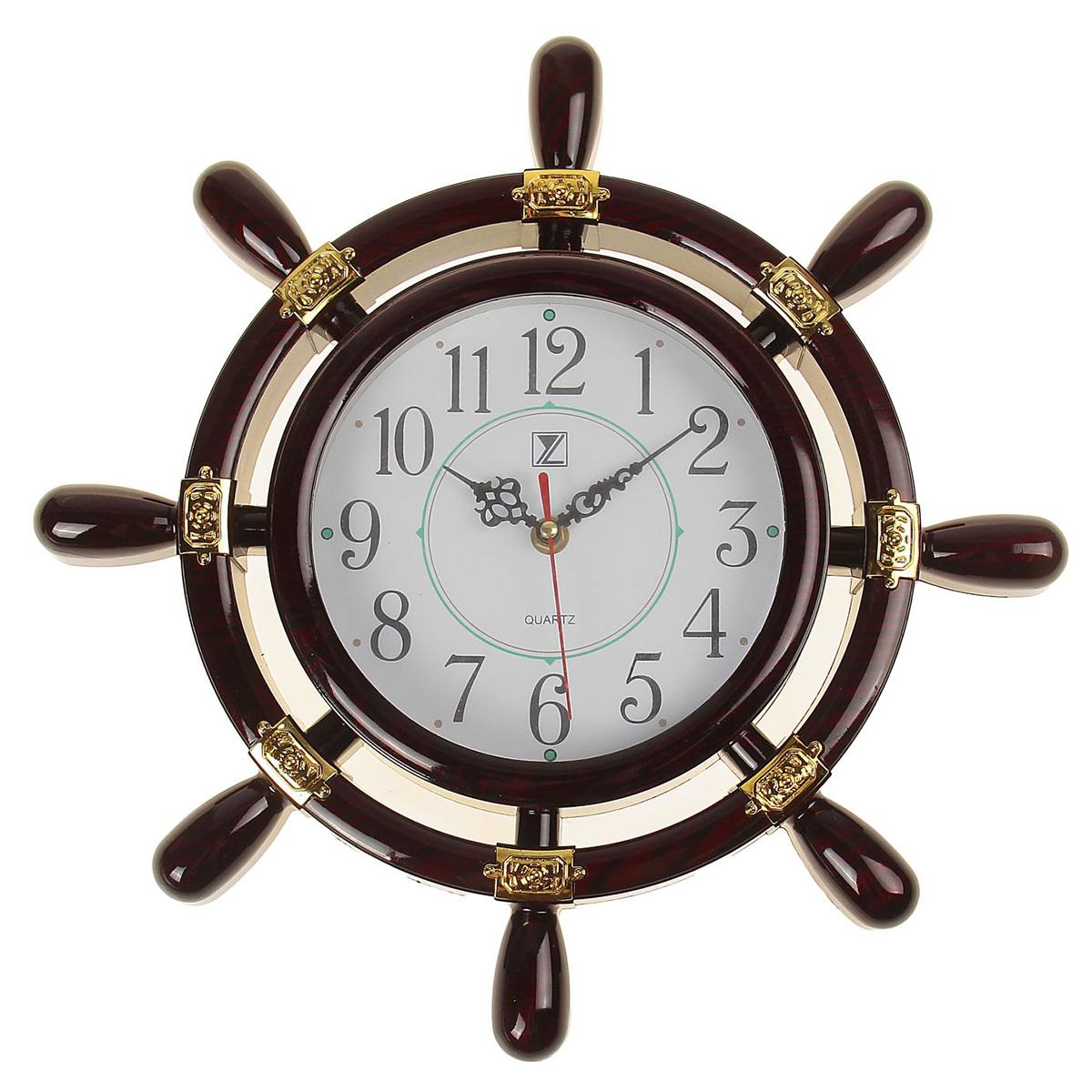 Часы настенные Штурвал, диаметр 30 см637878Каждому хозяину периодически приходит мысль обновить свою квартиру, сделать ремонт, перестановку или кардинально поменять внешний вид каждой комнаты. Часы настенные Штурвал, d=30 см, темно-коричневые — привлекательная деталь, которая поможет воплотить вашу интерьерную идею, создать неповторимую атмосферу в вашем доме. Окружите себя приятными мелочами, пусть они радуют глаз и дарят гармонию.Часы настенные Штурвал коричневый двойной d=30см пластик 637878