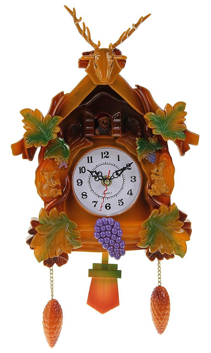 Часы настенные Белочки вокруг домика, 40 х 21 см