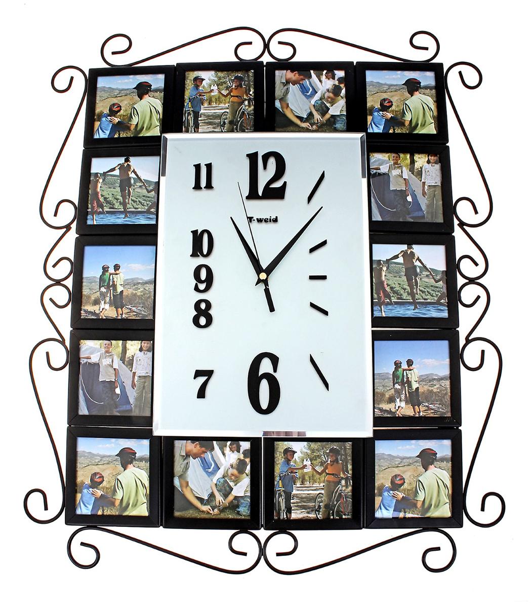 Часы настенные T-Weid Хайтек, 4 фоторамок 10х10, 47 х 58 см часы настенные t weid с фоторамками цвет белый 35 х 60 х 5 см