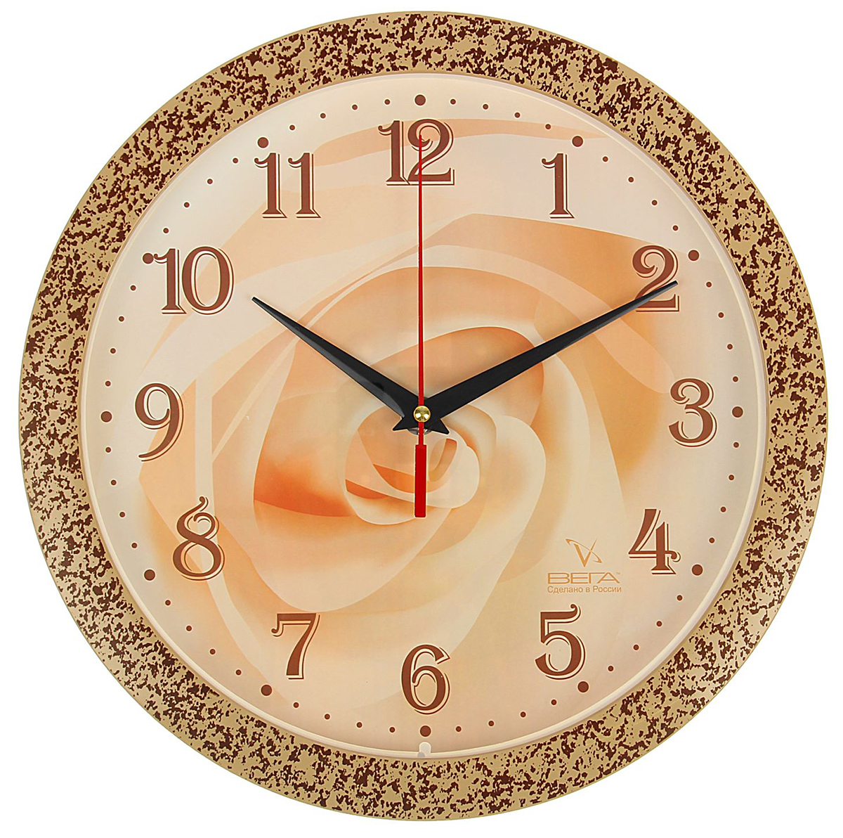 Часы настенные Вега Роза708053Каждому хозяину периодически приходит мысль обновить свою квартиру, сделать ремонт, перестановку или кардинально поменять внешний вид каждой комнаты. Часы настенные круглые Роза — привлекательная деталь, которая поможет воплотить вашу интерьерную идею, создать неповторимую атмосферу в вашем доме. Окружите себя приятными мелочами, пусть они радуют глаз и дарят гармонию. Часы настенные круглые Роза — сувенир в полном смысле этого слова. И главная его задача — хранить воспоминание о месте, где вы побывали, или о том человеке, который подарил данный предмет. Преподнесите эту вещь своему другу, и она станет достойным украшением его дома.Часы настенные круглые Роза микс 708053
