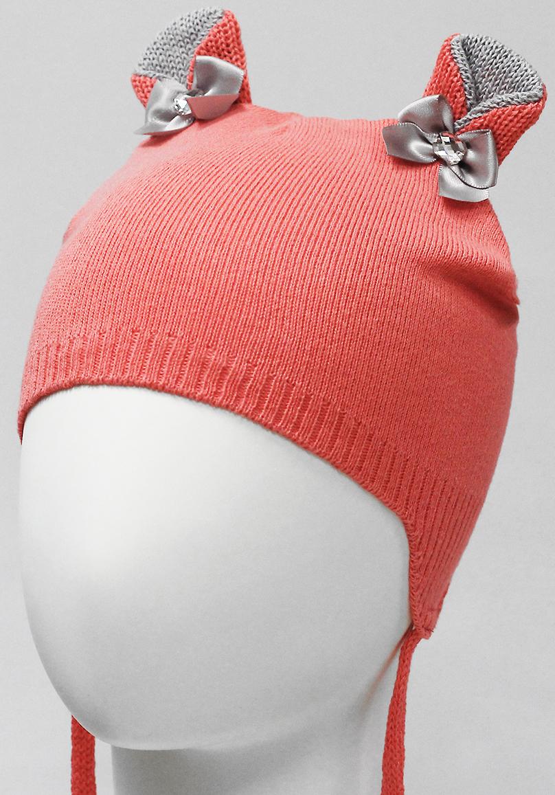 Шапка для девочки Marhatter, цвет: коралловый. MDU7280. Размер 42/44MDU7280Шапка с удлиненными боковыми частями Marhatter изготовлена из хлопка. Модель на завязках, с ушками, украшенными атласными бантами с камнем. Уважаемые клиенты!Размер, доступный для заказа, является обхватом головы.