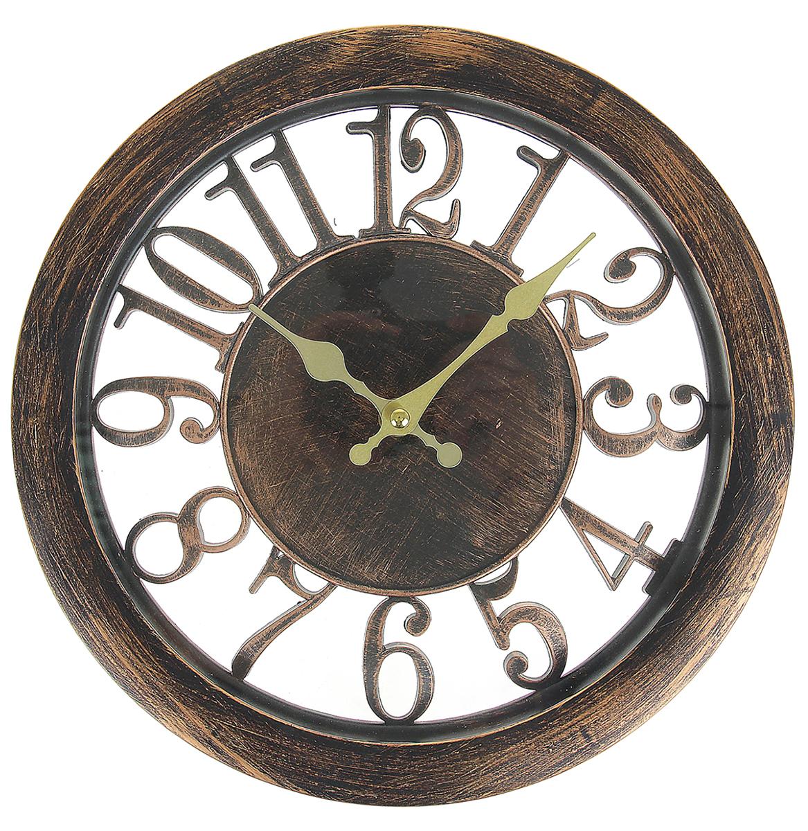Часы настенные Цифры, цвет: бронза, диаметр 30 см725898Каждому хозяину периодически приходит мысль обновить свою квартиру, сделать ремонт, перестановку или кардинально поменять внешний вид каждой комнаты. Часы настенные интерьерные Серия Цифры. Пунктуальность, d=30 см, рама под состаренную бронзу — привлекательная деталь, которая поможет воплотить вашу интерьерную идею, создать неповторимую атмосферу в вашем доме. Окружите себя приятными мелочами, пусть они радуют глаз и дарят гармонию.Часы настенные серия Цифры, круг, цифры по кайме, рама бронза d=30см 725898