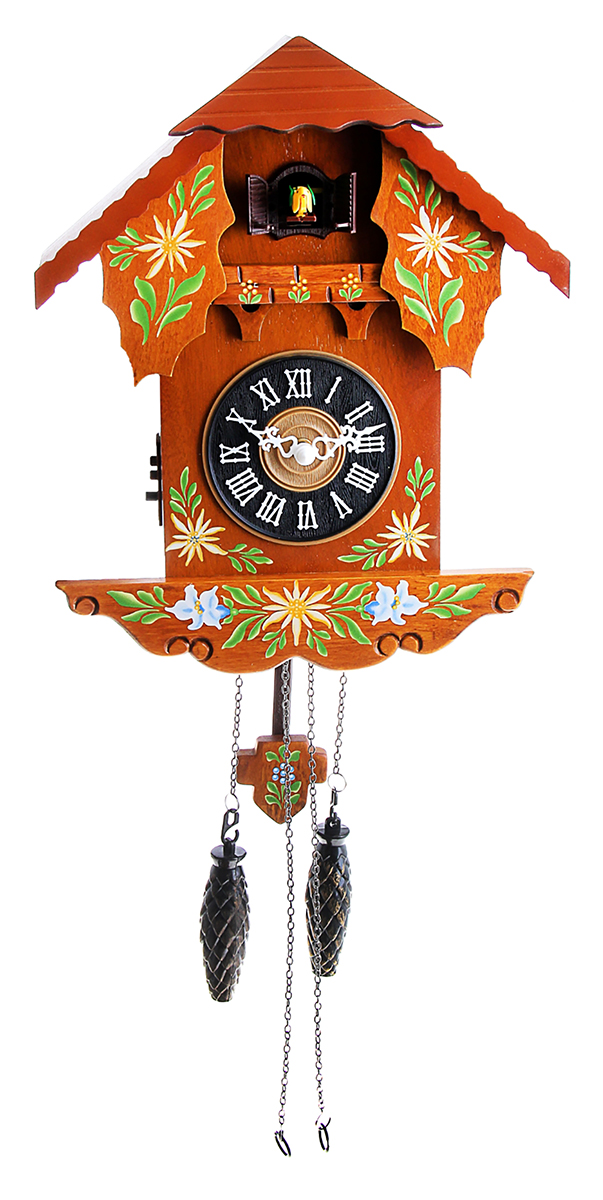 Часы с кукушкой давно перестали быть просто часами или предметом интерьера. Это явление культуры. Первые часы с кукушкой появились более 300 лет назад. Их родиной считается германская земля Шварцвальд. Привычный для нас внешний вид – сказочный домик, украшенный листьями или фигурками животных и птиц,- часы обрели в середине XIX века. Часы настенные с кукушкой дерево росписные с наличниками 29х34,5см работают на батарейке, гири – бутафорские. Громкость кукушки регулируется.часы настенные с кукушкой дерево расписные с наличниками 29*34,5см 760887