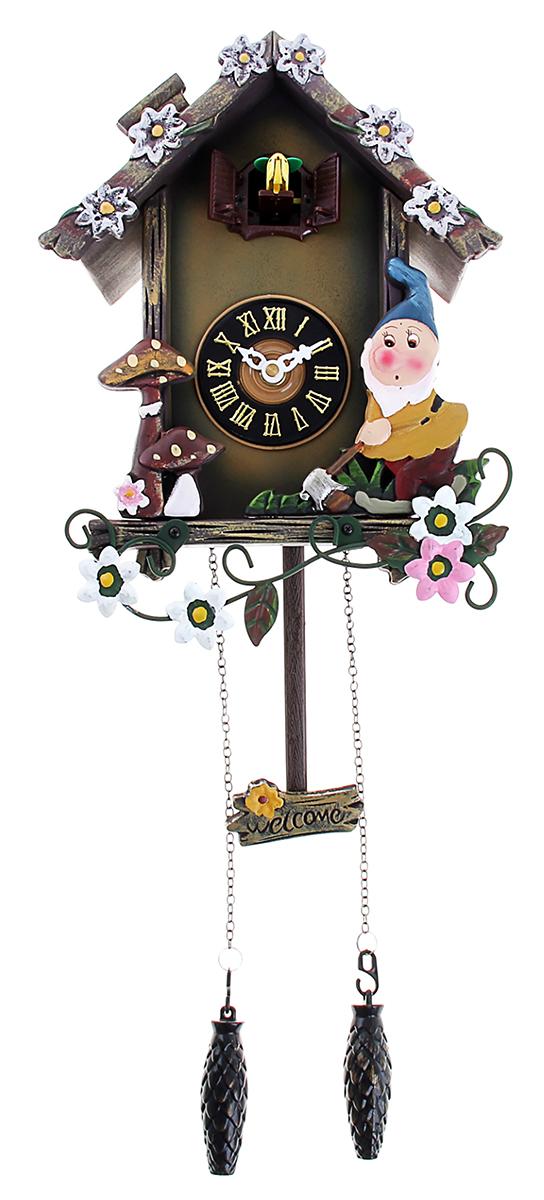 Часы настенные с кукушкой Гномики и грибочки, 21 х 29 см