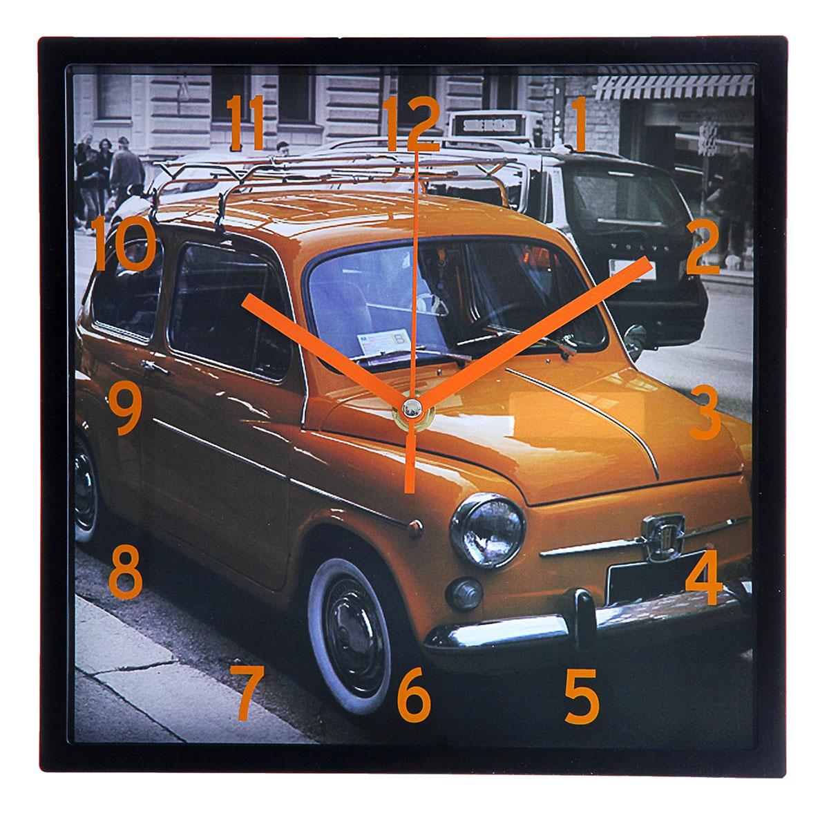 Часы настенные Ретро-автомобиль, 24 х 24 см760904Каждому хозяину периодически приходит мысль обновить свою квартиру, сделать ремонт, перестановку или кардинально поменять внешний вид каждой комнаты. Часы настенные квадратные Ретро-автомобиль, 24 ? 24 см, рама черная, стрелки и цифры оранжевые — привлекательная деталь, которая поможет воплотить вашу интерьерную идею, создать неповторимую атмосферу в вашем доме. Окружите себя приятными мелочами, пусть они радуют глаз и дарят гармонию.Часы настенные квадрат рама пласт черная на циферблате Ретроавтомобиль оранж 24*24см 760904