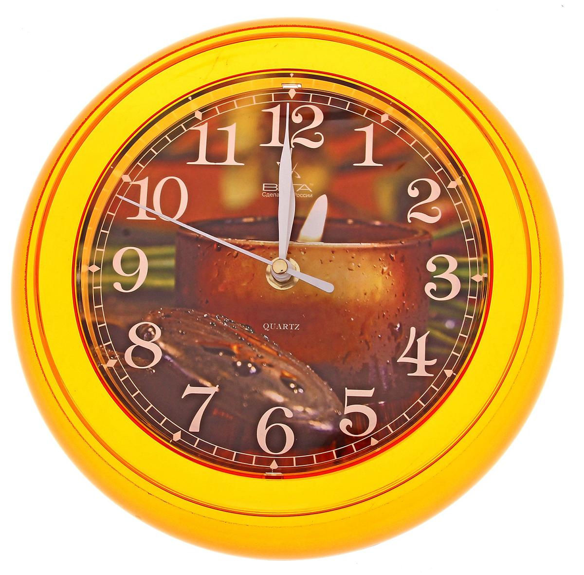 Часы настенные Вега Свеча796771Каждому хозяину периодически приходит мысль обновить свою квартиру, сделать ремонт, перестановку или кардинально поменять внешний вид каждой комнаты. Часы настенные круглые Свеча, оранжевые — привлекательная деталь, которая поможет воплотить вашу интерьерную идею, создать неповторимую атмосферу в вашем доме. Окружите себя приятными мелочами, пусть они радуют глаз и дарят гармонию. Часы настенные круглые Свеча, оранжевые — сувенир в полном смысле этого слова. И главная его задача — хранить воспоминание о месте, где вы побывали, или о том человеке, который подарил данный предмет. Преподнесите эту вещь своему другу, и она станет достойным украшением его дома.Часы настенные круглые Свеча, оранжевые 796771