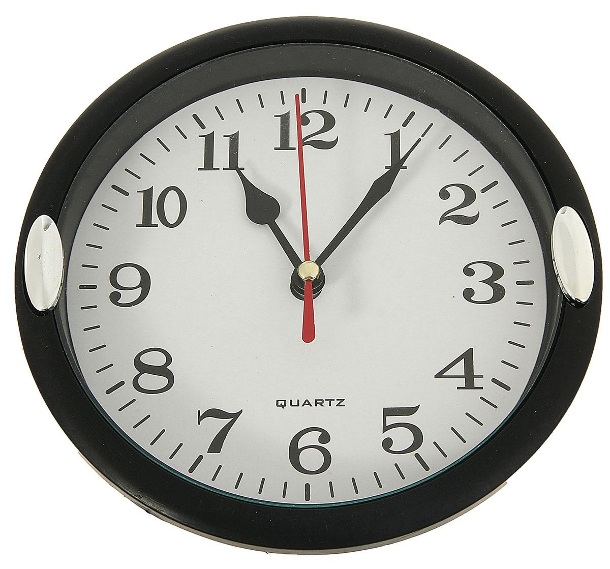 Часы настенные с 2 держателями, цвет: черный, белый, диаметр 15 см настенные часы mikhail moskvin сирена круг 6 2