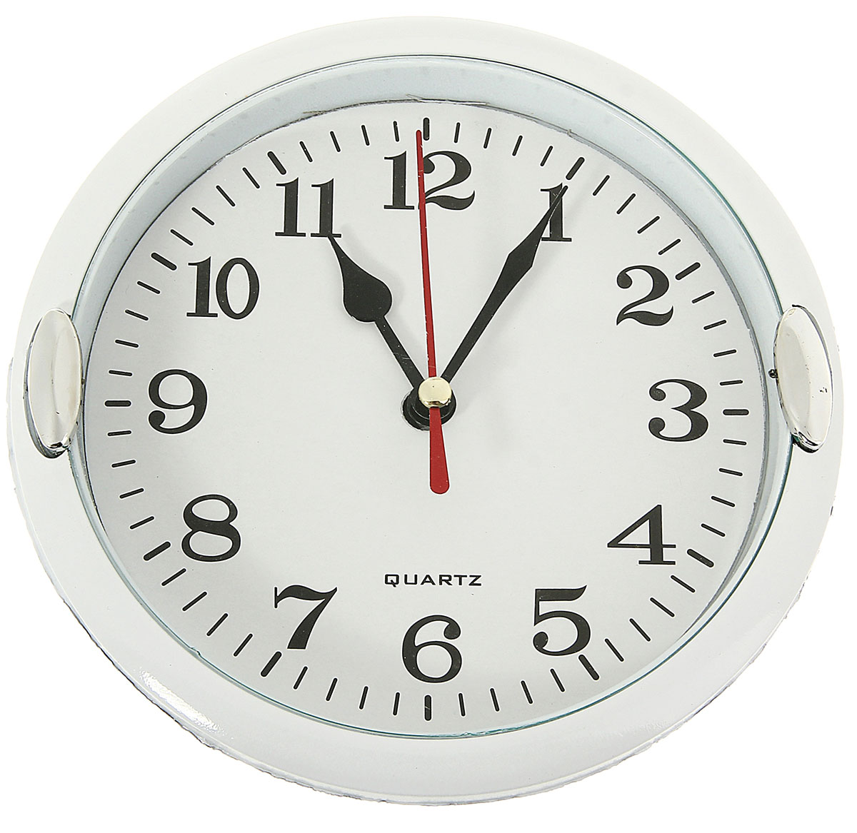 Часы настенные с 2 держателями, цвет: хром, белый, диаметр 15 см настенные часы mikhail moskvin сирена круг 6 2