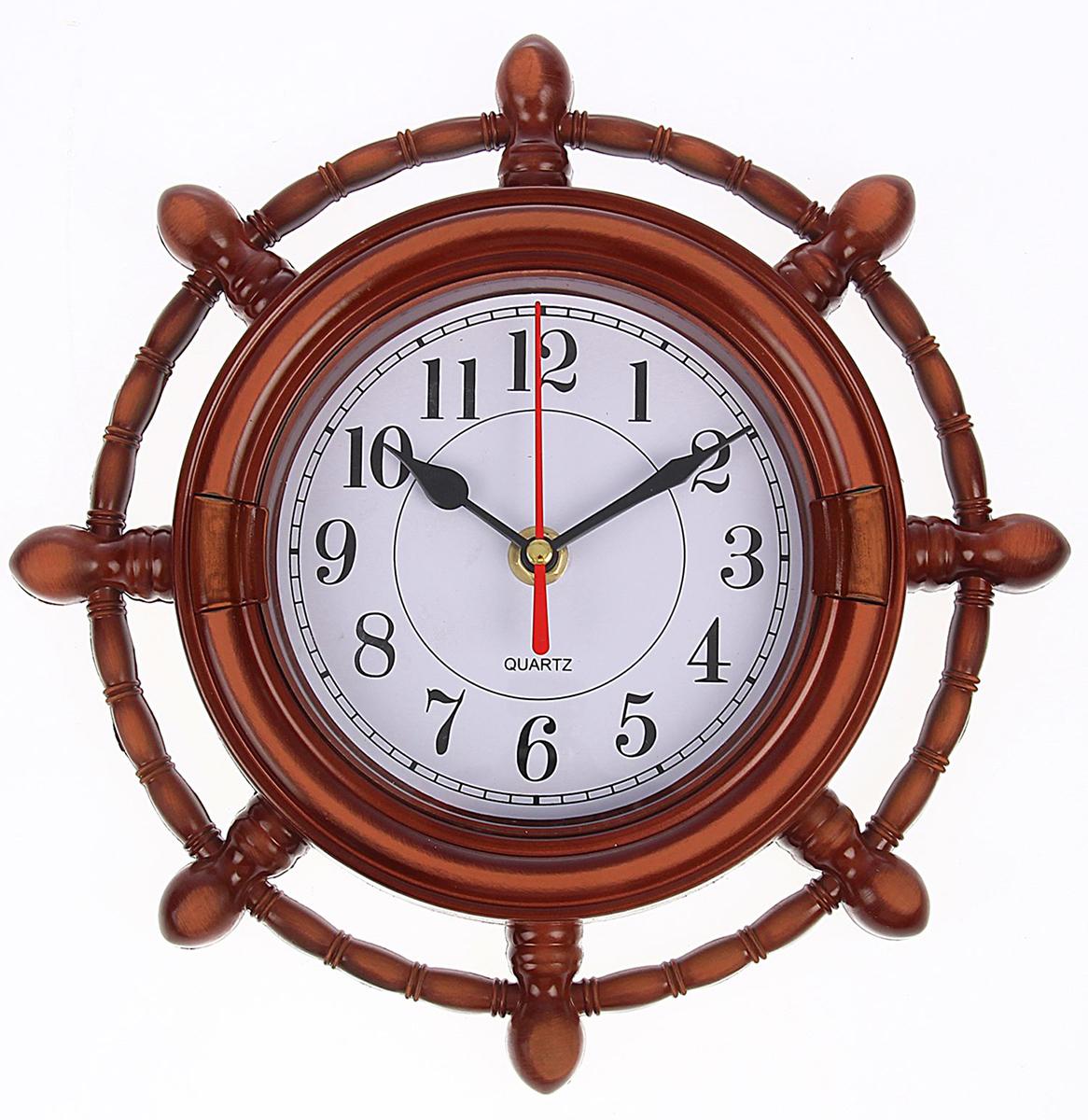 Часы настенные Штурвал мини, диаметр 24 см834808Часы настенные Штурвал мини с круглым циферблатом - функциональная деталь интерьера в доме. Окружите себя приятными мелочами, пусть они радуют глаз и дарят гармонию.