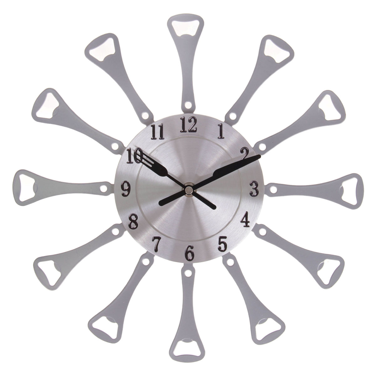 """Каждому хозяину периодически приходит мысль обновить свою квартиру, сделать ремонт, перестановку или кардинально поменять внешний вид каждой комнаты. Часы настенные кухонные """"Открывалки"""", d=32 см, хром — привлекательная деталь, которая поможет воплотить вашу интерьерную идею, создать неповторимую атмосферу в вашем доме. Окружите себя приятными мелочами, пусть они радуют глаз и дарят гармонию.Часы настенные Столовые приборы, открывалки хром d=32см 837909"""