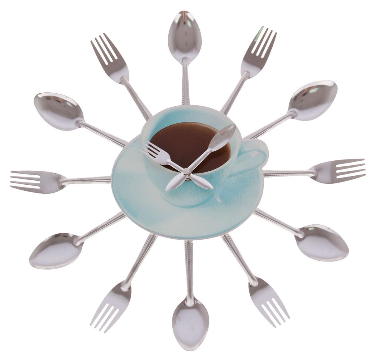 """Каждому хозяину периодически приходит мысль обновить свою квартиру, сделать ремонт, перестановку или кардинально поменять внешний вид каждой комнаты. Часы настенные кухонные """"Столовые приборы. Чашка кофе"""", d=39 см — привлекательная деталь, которая поможет воплотить вашу интерьерную идею, создать неповторимую атмосферу в вашем доме. Окружите себя приятными мелочами, пусть они радуют глаз и дарят гармонию.Часы настенные круг на лучиках Вилки/ложки, Чашка кофе d=39см 837911"""