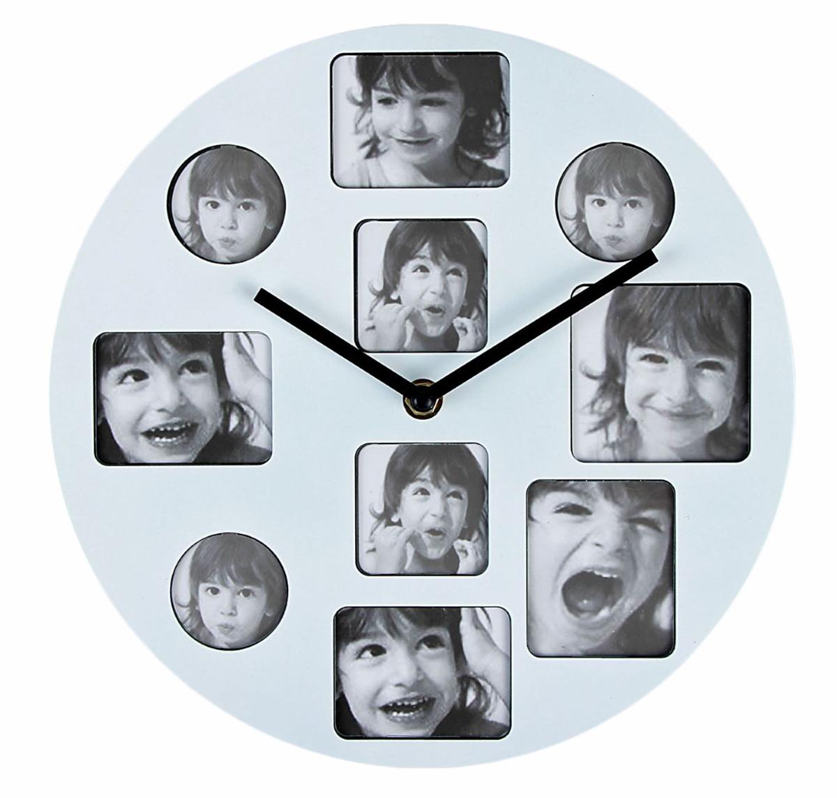 Часы настенные с 10 фоторамками, цвет: белый, диаметр 25 см настенные часы mikhail moskvin сирена круг 6 2
