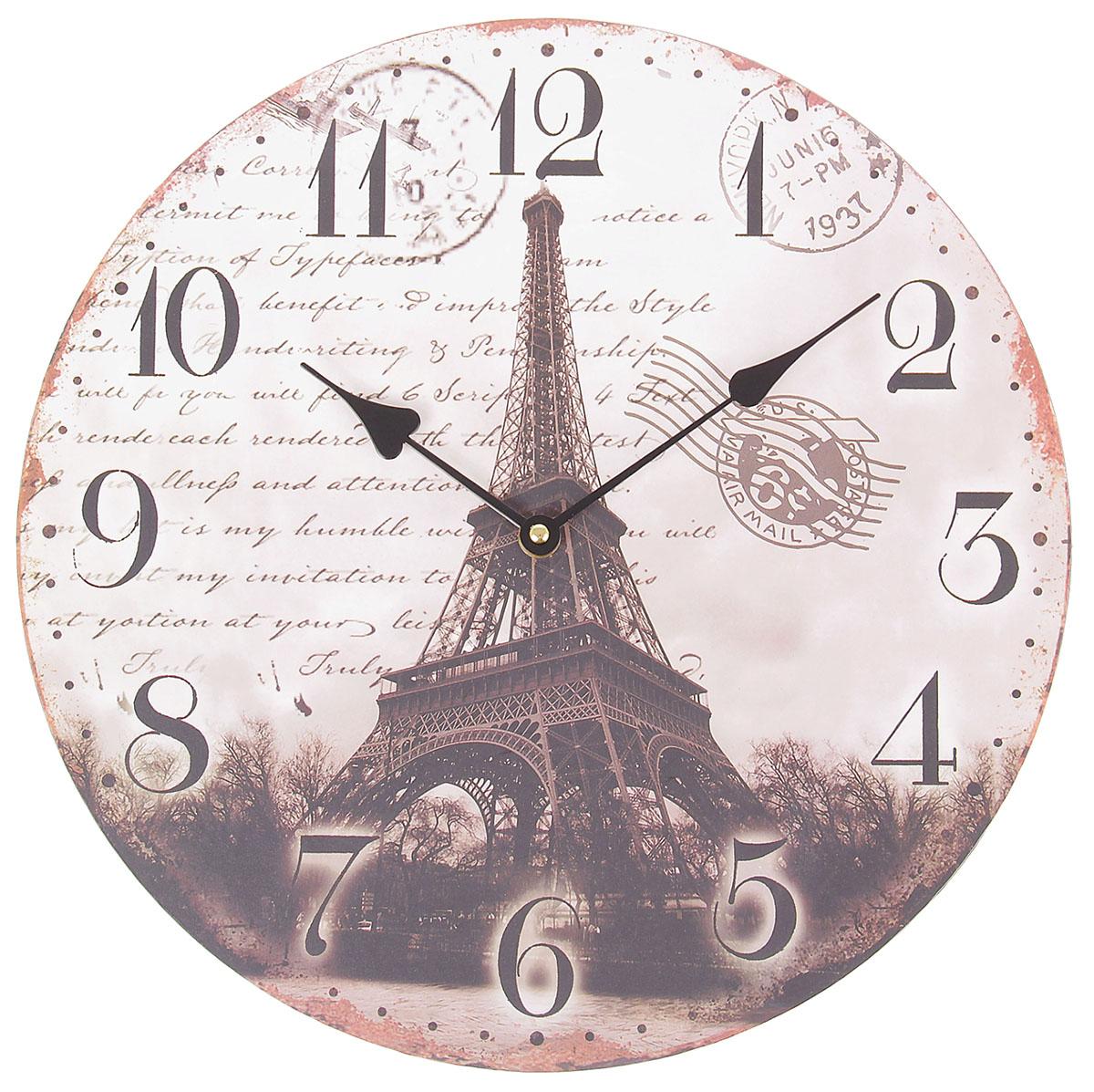 Часы настенные Ретро. Эйфелева башня, диаметр 34 см пазлы magic pazle объемный 3d пазл эйфелева башня 78x38x35 см