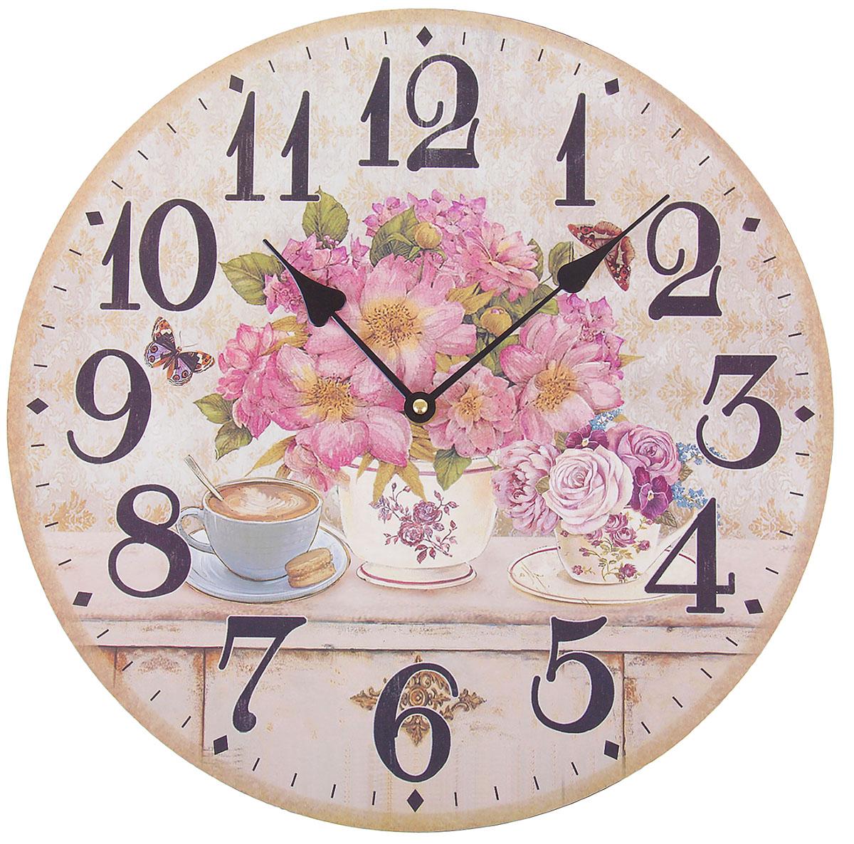 Часы настенные Ретро. Утренние цветы, диаметр 34 см840868Каждому хозяину периодически приходит мысль обновить свою квартиру, сделать ремонт, перестановку или кардинально поменять внешний вид каждой комнаты. Часы настенные интерьерные Утренние цветы — привлекательная деталь, которая поможет воплотить вашу интерьерную идею, создать неповторимую атмосферу в вашем доме. Окружите себя приятными мелочами, пусть они радуют глаз и дарят гармонию.часы настенные круг серия Ретро Утренние цветы d=34см 840868