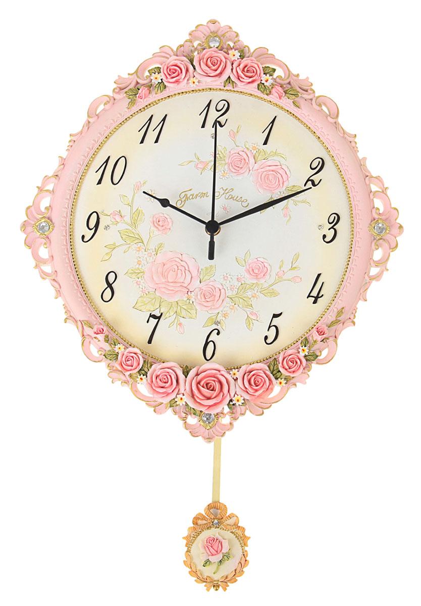 Часы настенные Маятник. Розы, 34 х 42 см913716Каждому хозяину периодически приходит мысль обновить свою квартиру, сделать ремонт, перестановку или кардинально поменять внешний вид каждой комнаты. Часы настенные интерьерные Любимые цветы с маятником — привлекательная деталь, которая поможет воплотить вашу интерьерную идею, создать неповторимую атмосферу в вашем доме. Окружите себя приятными мелочами, пусть они радуют глаз и дарят гармонию.часы настенные серия маятник Розы, сверху и снизу, 34*42см 913716