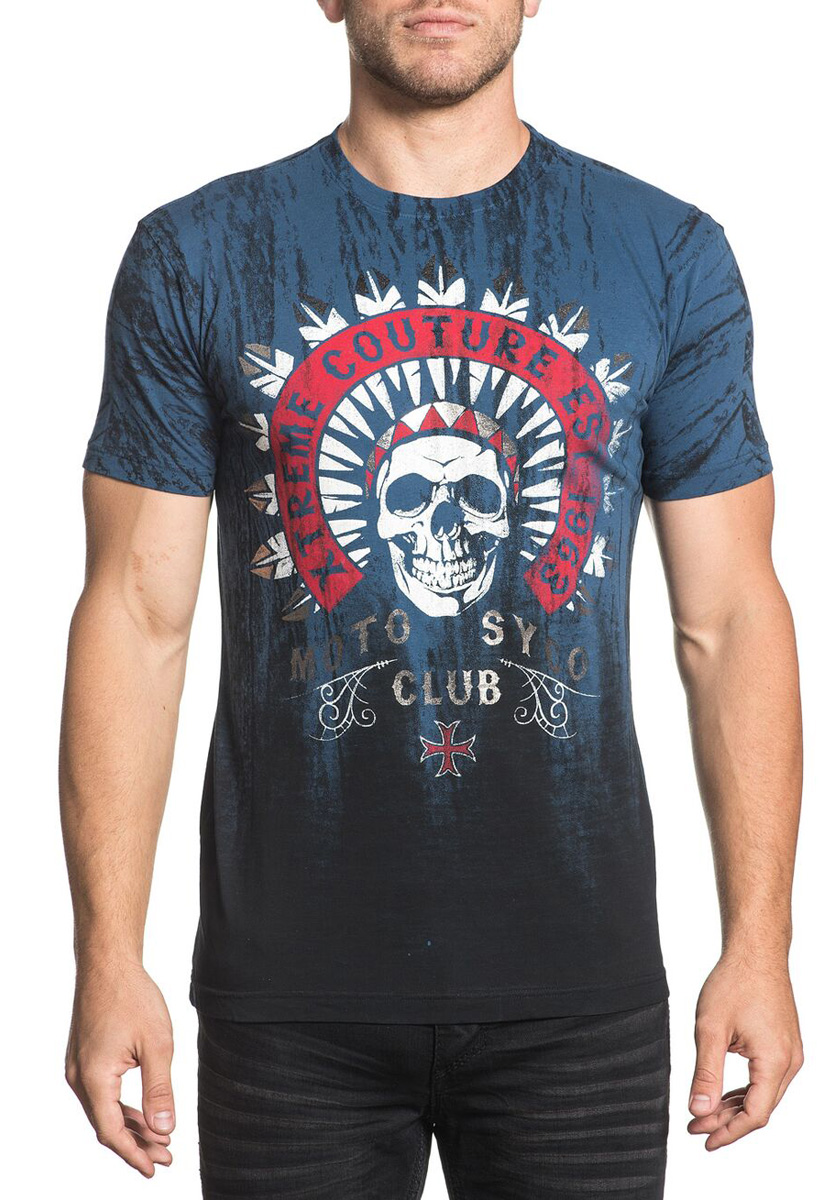 Футболка мужская Xtreme Couture Chief Motor Club, цвет: синий. X1692. Размер S (46) color club цвет 875 hot couture