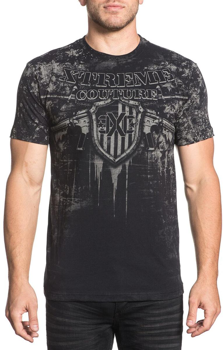 Футболка мужская Xtreme Couture Freedom Defender, цвет: черный. X1655. Размер L (50)X1655Мужская футболка от Xtreme Couture выполнена из натурального хлопка. Модель с короткими рукавами и круглым вырезом горловины оформлена оригинальным принтом.