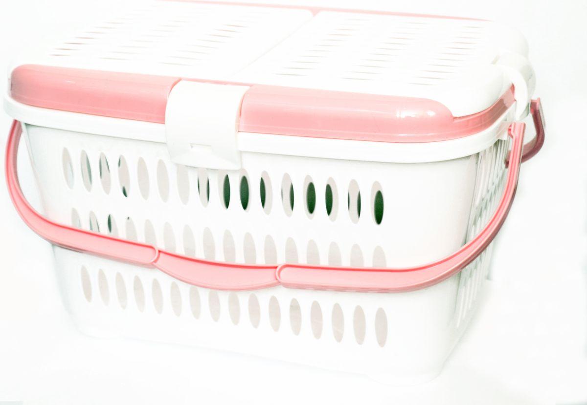 Переноска для животных DD Style, цвет: белый, розовый, 44 х 30 х 26 см03101_белый, розовый