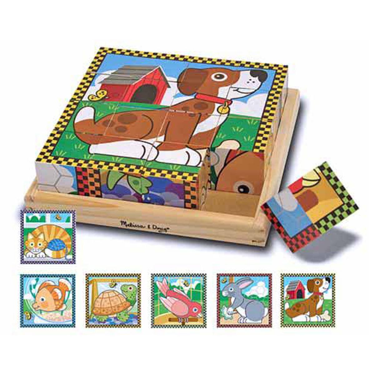 Melissa & Doug Пазл из кубиков Домашние животные деревянные игрушки behno кубики пазл домашние животные