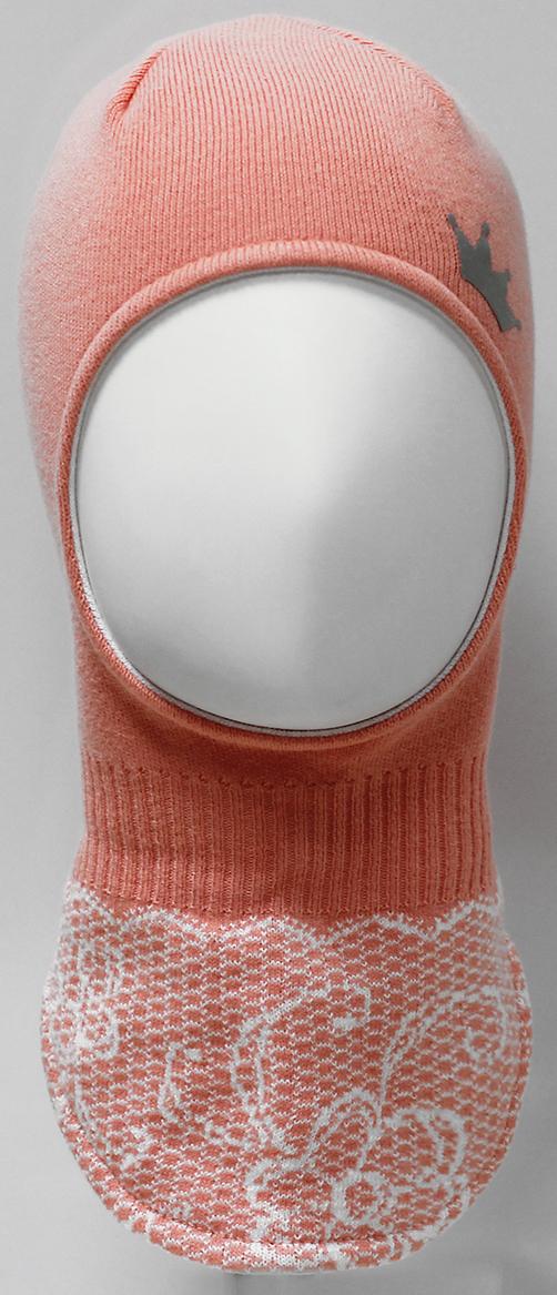 Шапка-шлем для девочки Marhatter, цвет: коралловый. MDT7283/5. Размер 48/50MDT7283/5Шлем для девочек Marhatter изготовлен из хлопка со светоотражающей аппликацией в виде короны. По низу изделия жаккардовый узор, имитирующий кружево. Хлопковая подкладка. Уважаемые клиенты!Размер, доступный для заказа, является обхватом головы.