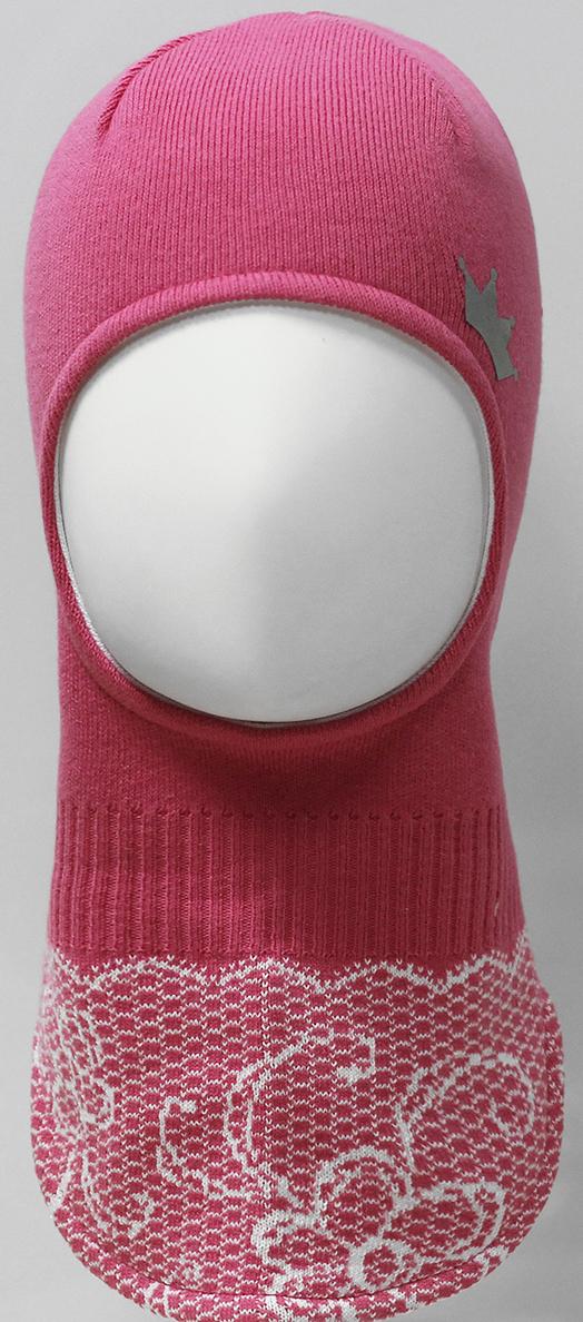 Шапка-шлем для девочки Marhatter, цвет: розовый. MDT7283/5. Размер 48/50MDT7283/5Шлем для девочек Marhatter изготовлен из хлопка со светоотражающей аппликацией в виде короны. По низу изделия жаккардовый узор, имитирующий кружево. Хлопковая подкладка. Уважаемые клиенты!Размер, доступный для заказа, является обхватом головы.