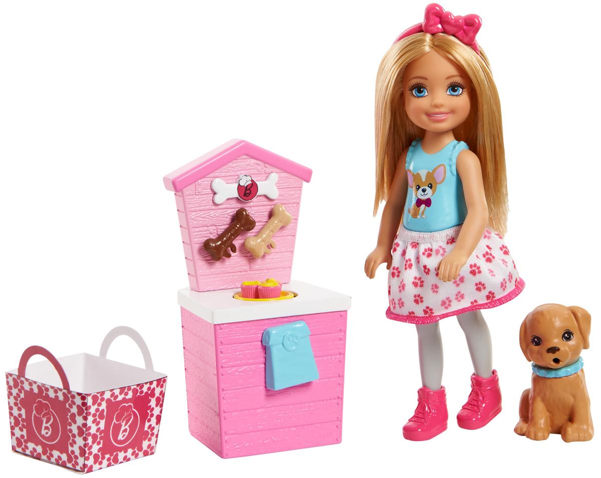 Barbie Игровой набор с куклой Челси и щенок цвет розовый голубой barbie игровой набор с куклой спасатель животных