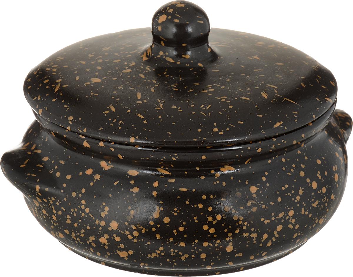 """Горшок для запекания Борисовская керамика """"Радуга"""", с крышкой, цвет: черный, 700 мл"""