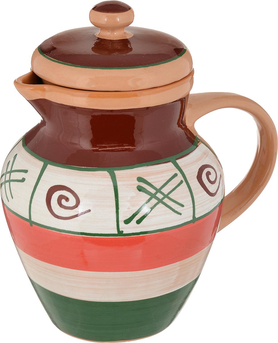 Кувшин Борисовская керамика Стандарт, с крышкой, цвет: светло-коричневый, красный, зеленый, 1,7 лОБЧ00000446_светло-коричневый, красный, зеленыйКувшин Борисовская керамика Стандарт, с крышкой, цвет: светло-коричневый, красный, зеленый, 1,7 л