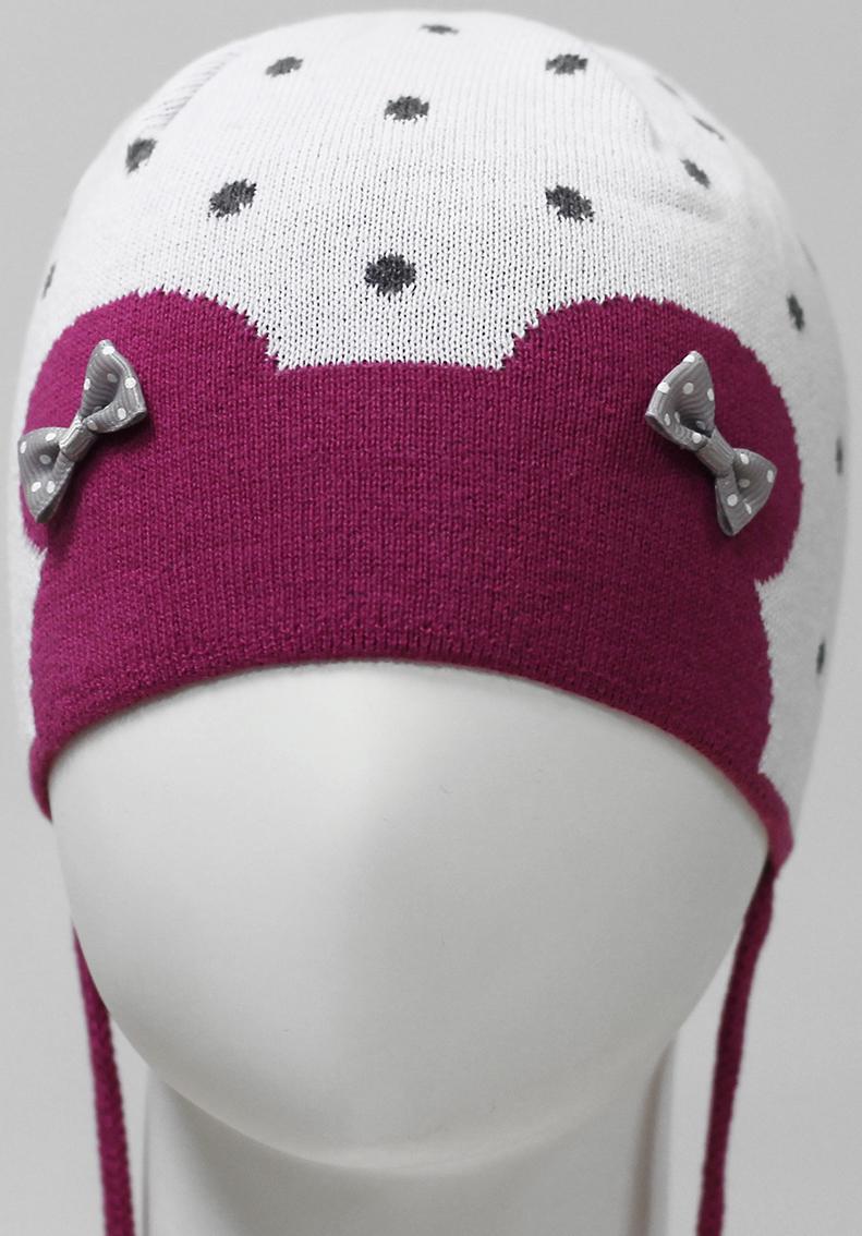 Шапка для девочки Marhatter, цвет: белый. MDH7585. Размер 46/48MDH7585Хлопковая шапка Marhatter на завязках для маленьких девочек. Изящная комбинация жаккардового узора, украшенная двумя бантиками. Уважаемые клиенты!Размер, доступный для заказа, является обхватом головы.
