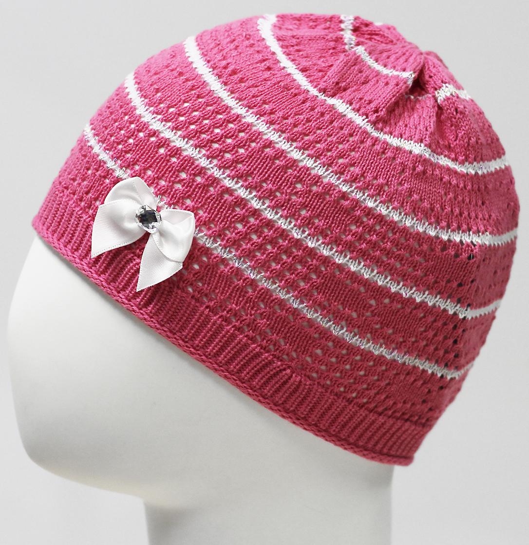 Шапка для девочки Marhatter, цвет: розовый. MDH7524. Размер 44/46MDH7524Ажурная шапка для маленьких принцесс Marhatter выполнена из качественного хлопкового сырья с изящным руликом по низу. Модель связана гладкой вязкой и оформлена атласным бантом с камнем.Уважаемые клиенты!Размер, доступный для заказа, является обхватом головы.