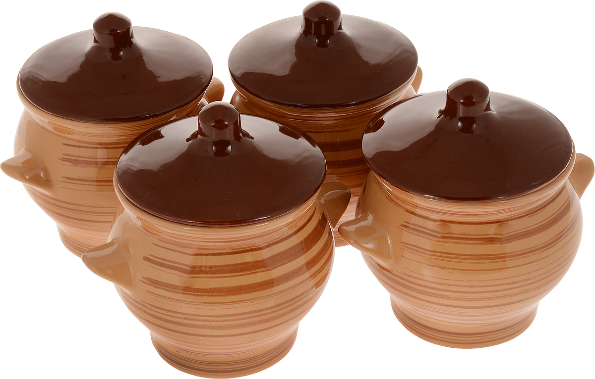Набор горшочков для запекания Борисовская керамика Стандарт, с крышками, цвет: светло-коричневый, 600 мл, 4 шт