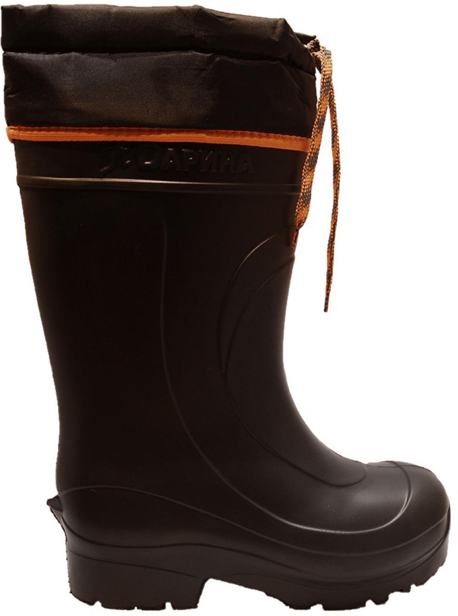 Сапоги зимние мужские Дарина Мороз, с надставкой и утеплителем, цвет: черный. Размер 41-42Д333-НУ/41-42черныйСапоги мужские Мороз из материала ЭВА — современная, очень легкая и надежно сохраняющая тепло обувь. Сапоги предназначены на осенне- зимний период. Отличная обувь для активного отдыха на природе. Обувь из ЭВА – является гипоаллергенным материалом, не впитывает запахи и и грязь, а так же препятствует размножению грибков.За обувью из материала ЭВА очень легко ухаживать, не требуют специфических условий хранения. Верх модели выполнен из многослойной ткани Drive, которая обладает водоотталкивающими свойствами. Вкладыш выполнен из овечьей шерсти — очень мягкого меха. Мягкий мех, овечья шерсть 80%, ПЭ 20% нетканое трикотажное полотно с гидрофобным волокном позволяют сохранять ваши ноги в сухости и тепле. Так же вкладыш имеет металлизированную фольга для отражения холода и мембранную сетку для защиты фольги. Данная модель имеет уплотненную пятку, что делает обувь Архон Плюс наиболее удобной. Оснащена утеплителем Мороз, который способен выдерживать температуру до -40С. Модель подойдет любителем зимней рыбалки и охоты, а так же тем, кто работает при экстремально низких температурах.