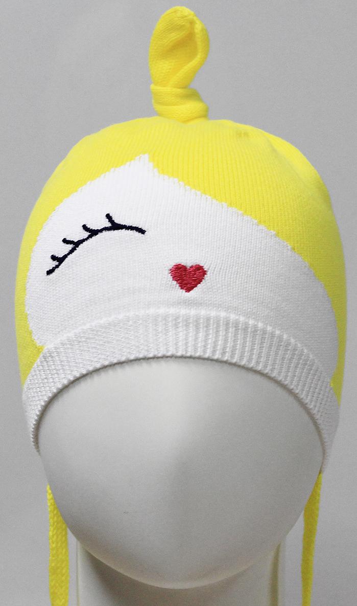 Шапка для девочки Marhatter, цвет: желтый. MDH7263. Размер 46/48MDH7263Шапка для маленьких принцесс Marhatter выполнена из качественного хлопкового сырья. Модель забавной формы на завязках связана гладкой вязкой и оформлена красивой вышивкой.Уважаемые клиенты!Размер, доступный для заказа, является обхватом головы.