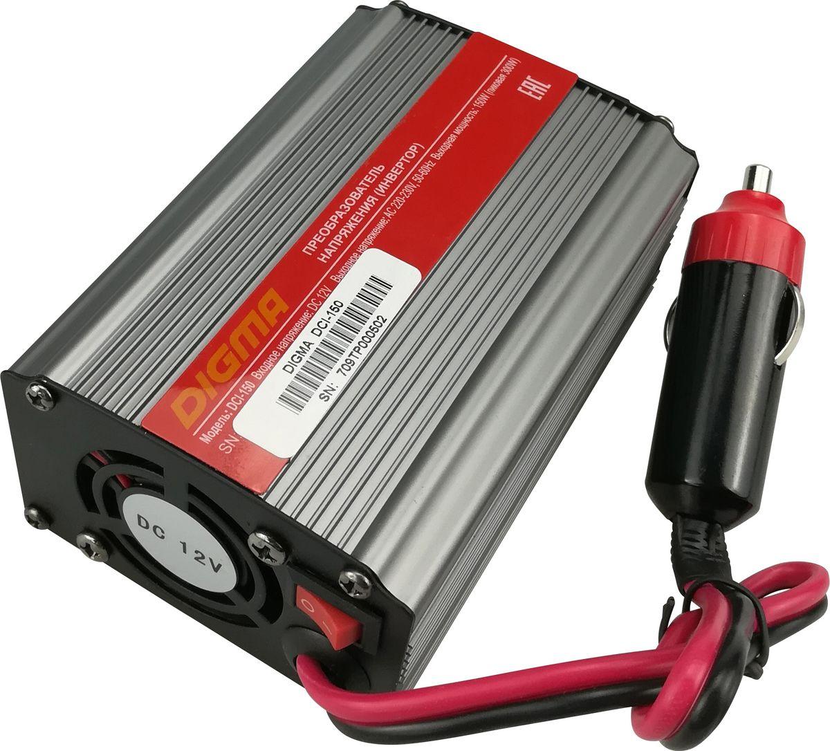Digma DCI-150 автоинвертерAPI-1000-06Способ подключения к аккумулятору: прикуриватель Порт USBЗащита от неправильной полярности Защита от перегрузок Кратковременная пиковая мощность: 300 Вт Выходная мощность: 150 Вт Входное напряжение (DC): 11-15В Выходное напряжение (AC): 230 Размеры: 70x46x125ммСрок гарантии: 12 мес.