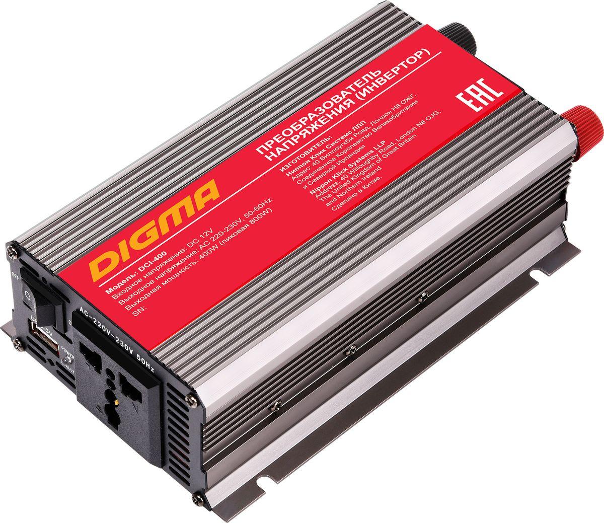 Digma DCI-400 автоинвертерAPI-1000-06Способ подключения к аккумулятору: прикуриватель или клеммы Порт USBЗащита от неправильной полярности Защита от перегрузок Кратковременная пиковая мощность: 800 Вт Выходная мощность: 400 Вт Входное напряжение (DC): 11-15В Выходное напряжение (AC): 230 Размеры: 98x165x55мм Срок гарантии: 12 мес.