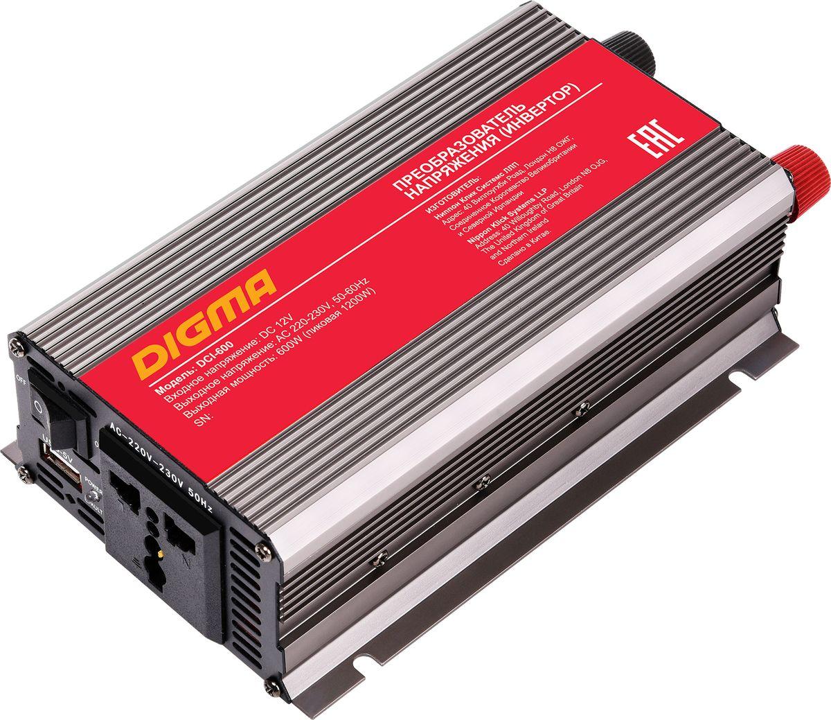 Digma DCI-600 автоинвертер77427Способ подключения к аккумулятору: прикуриватель или клеммы Порт USBЗащита от неправильной полярности Защита от перегрузок Кратковременная пиковая мощность: 1200 Вт Выходная мощность: 600 Вт Входное напряжение (DC): 11-15В Выходное напряжение (AC): 230 Размеры: 95x55x190мм Срок гарантии: 12 мес.