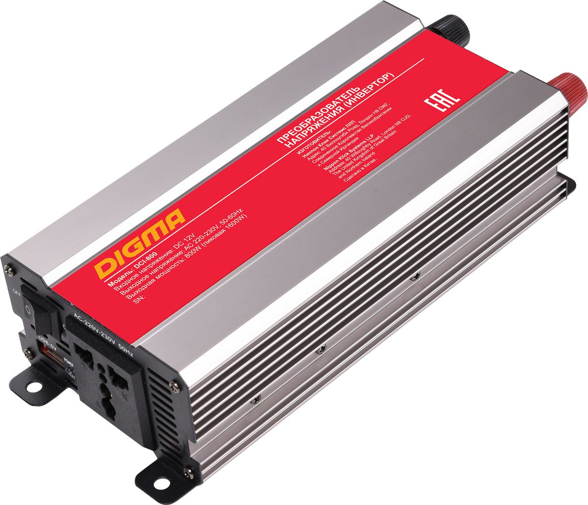 Digma DCI-800 автоинвертер77427Способ подключения к аккумулятору: клеммы Порт USBЗащита от неправильной полярности Защита от перегрузок Кратковременная пиковая мощность: 1600 Вт Выходная мощность: 800 Вт Входное напряжение (DC): 11-15В Выходное напряжение (AC): 230 Срок гарантии: 12 мес.
