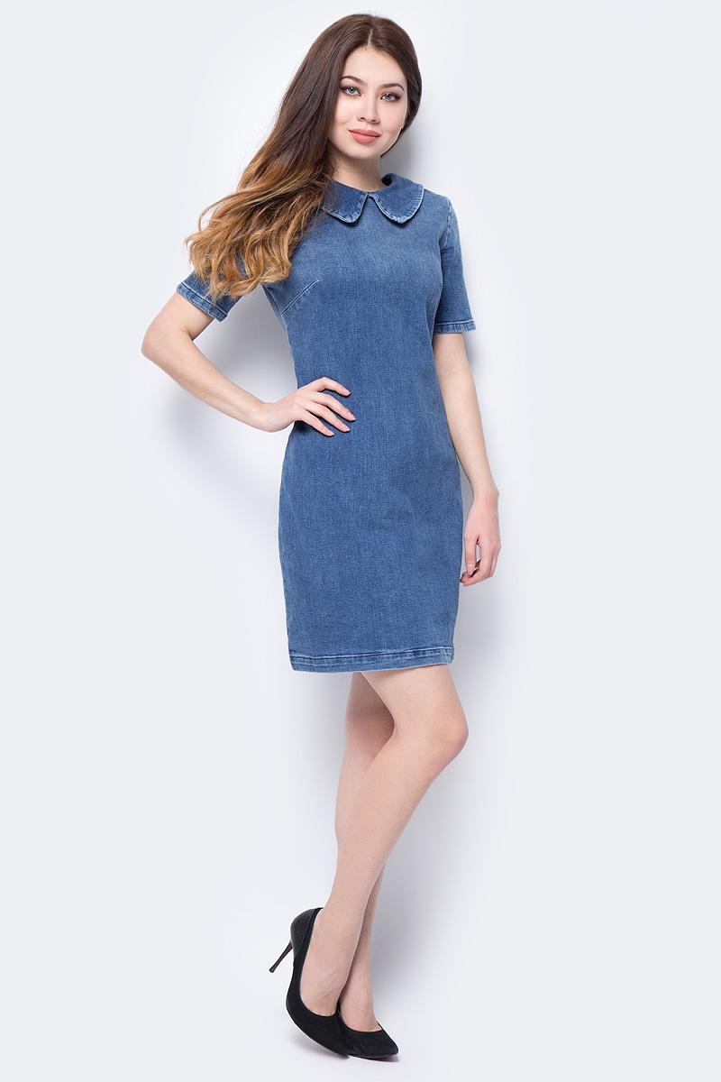 Платье adL, цвет: темно-синий. 12434060000_018. Размер L (46/48)12434060000_018Практичное джинсовое платье adL поможет создать модный повседневный образ. Модель прилегающего силуэта с отложным воротником застегивается на скрытую молнию на спинке. Мягкая ткань на основе хлопка и эластана приятна на ощупь и комфортна в носке. Модель подойдет для офиса, прогулок и дружеских встреч и сделает ваш образ неповторимым.