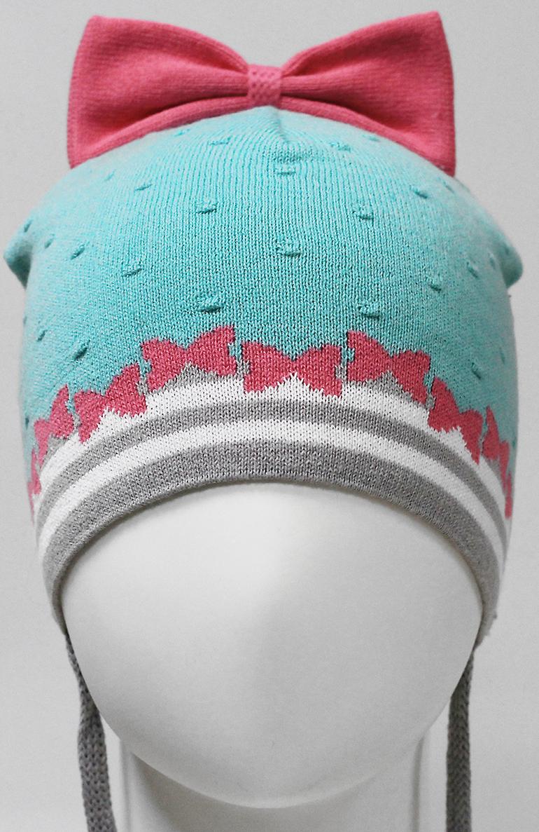 Шапка для девочки Marhatter, цвет: бирюзовый. MDH7251. Размер 48/50MDH7251Хлопковая шапка на завязках для маленьких принцесс. Модель украшена красивым вывязанным бантом.